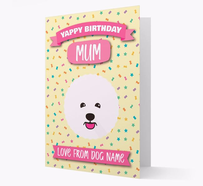 Personalised Card 'Yappy Birthday Mum' with Bichon Frise Icon