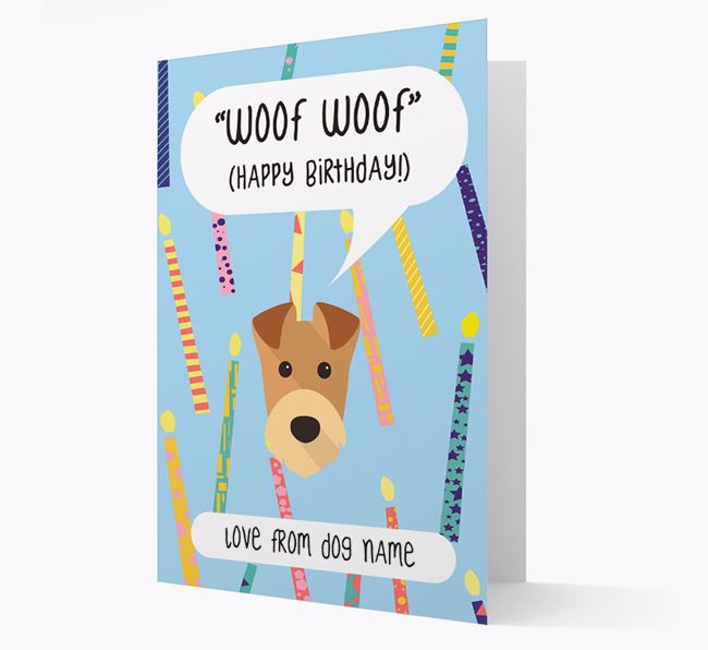 Personalised 'Woof Woof' Birthday Card with Airedale Terrier Icon