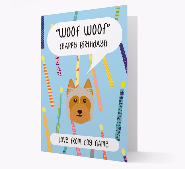 Personalized 'Woof Woof' Birthday Card with Australian Silky Terrier Icon
