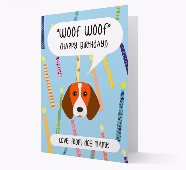 Personalised 'Woof Woof' Birthday Card with Beagle Icon