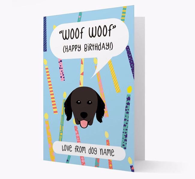 Personalized 'Woof Woof' Birthday Card with Hovawart Icon