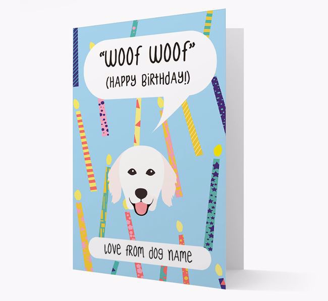 Personalized 'Woof Woof' Birthday Card with Hungarian Kuvasz Icon