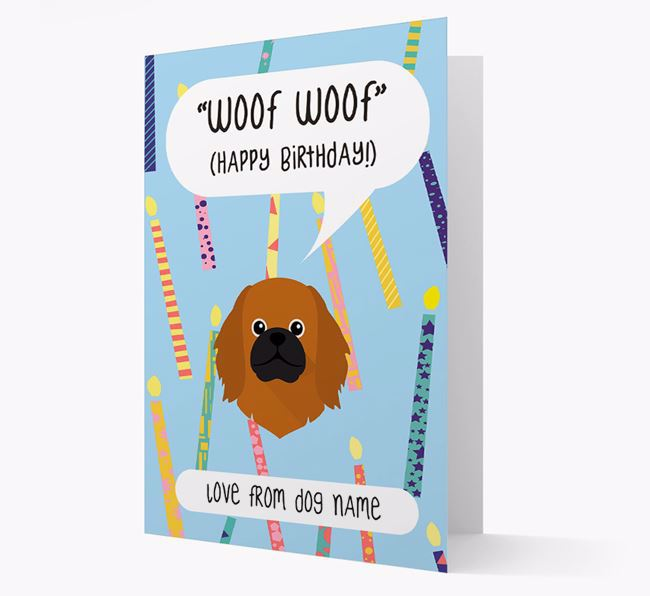 Personalized 'Woof Woof' Birthday Card with Pekingese Icon