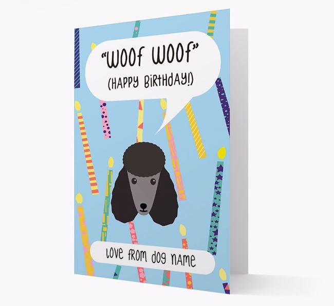 Personalised 'Woof Woof' Birthday Card with Poodle Icon