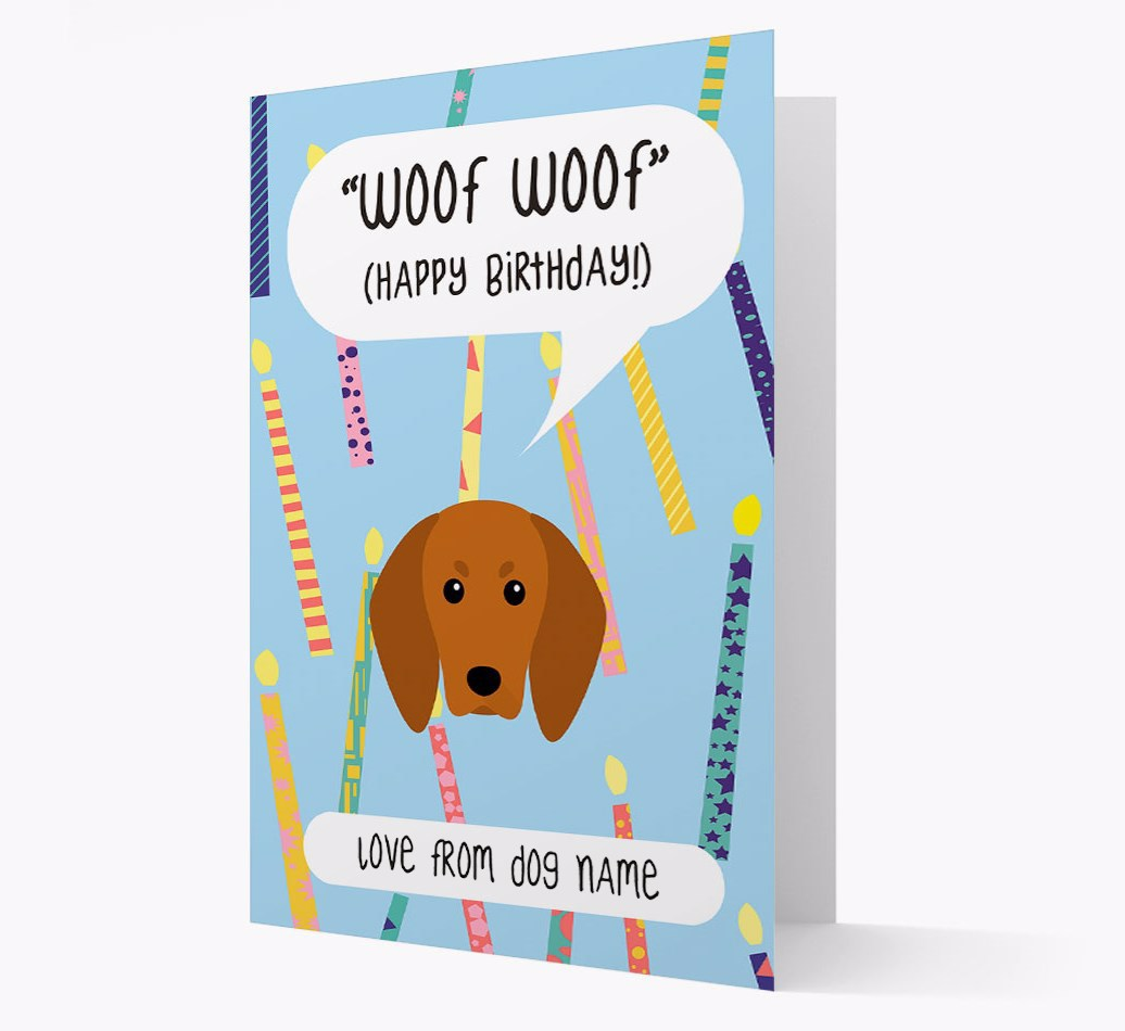Personalized 'Woof Woof' Birthday Card with Redbone Coonhound Icon