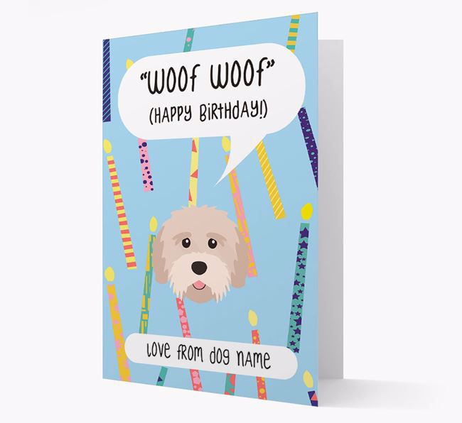 Personalized 'Woof Woof' Birthday Card with Tibetan Terrier Icon