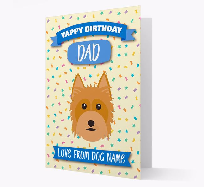 Personalized Card 'Yappy Birthday Dad' with Silky Terrier Icon