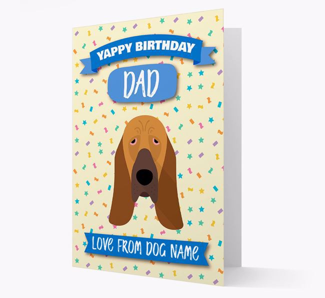 Personalized Card 'Yappy Birthday Dad' with Bloodhound Icon