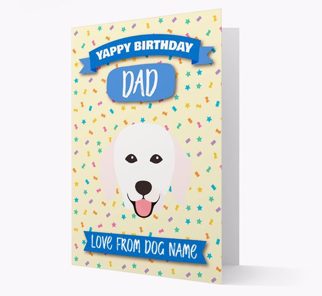 Personalized Card 'Yappy Birthday Dad' with Kuvasz Icon