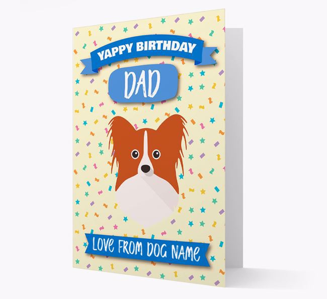 Personalized Card 'Yappy Birthday Dad' with Papillon Icon