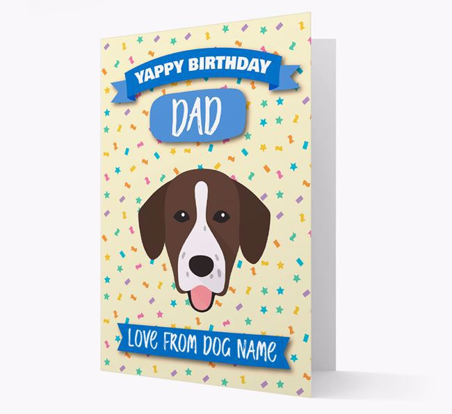 Personalised Card 'Yappy Birthday Dad' with Springador Icon