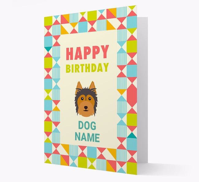 Personalized 'Happy Birthday' Pattern Border Card with Australian Silky Terrier Icon