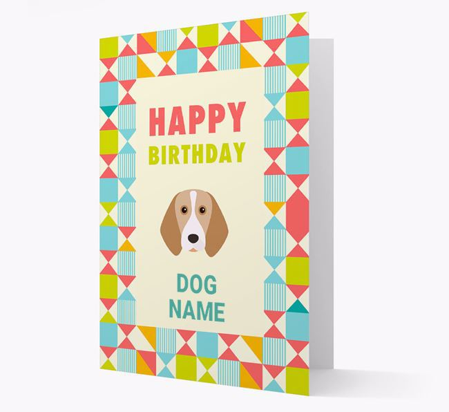 Personalised 'Happy Birthday' Pattern Border Card with Beagle Icon
