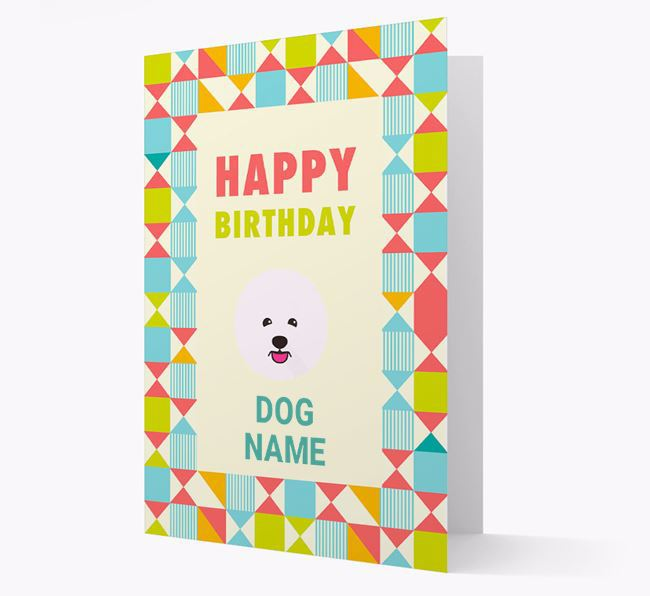 Personalised 'Happy Birthday' Pattern Border Card with Bichon Frise Icon