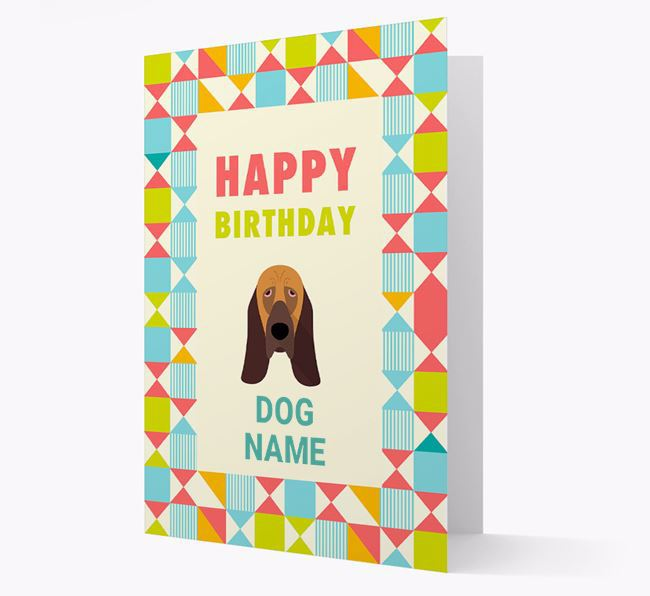 Personalized 'Happy Birthday' Pattern Border Card with Bloodhound Icon
