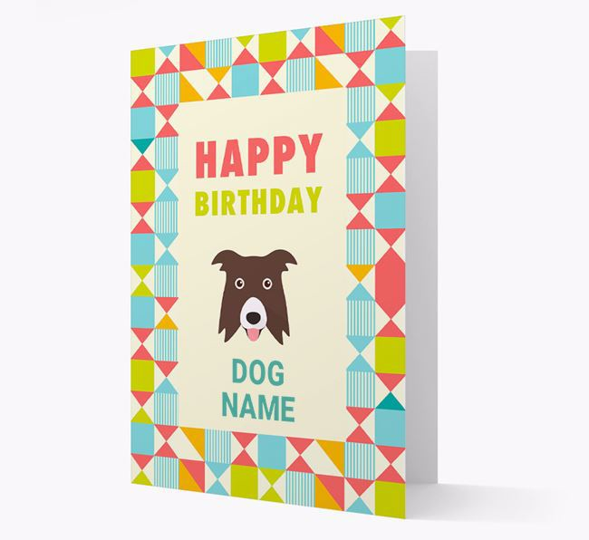Personalised 'Happy Birthday' Pattern Border Card with Border Collie Icon