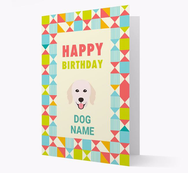 Personalized 'Happy Birthday' Pattern Border Card with Hungarian Kuvasz Icon