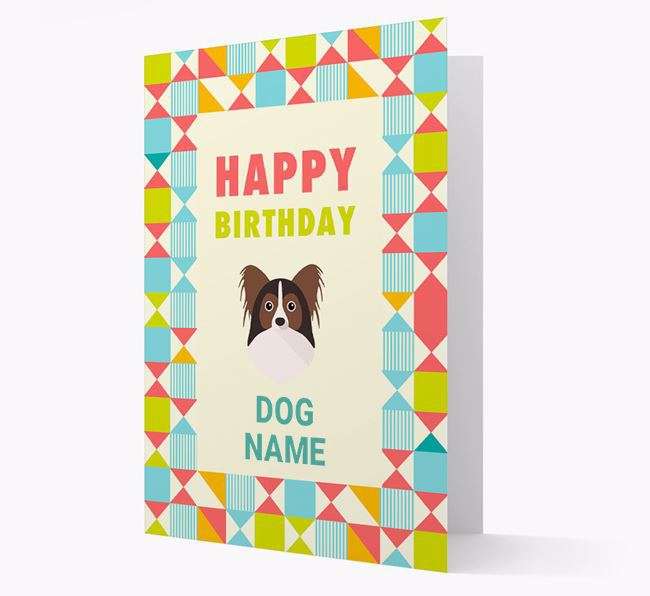 Personalized 'Happy Birthday' Pattern Border Card with Papillon Icon