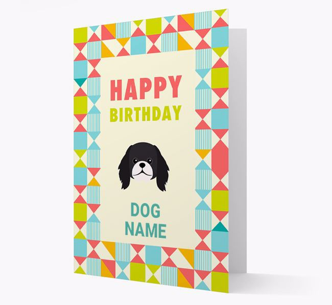 Personalized 'Happy Birthday' Pattern Border Card with Pekingese Icon