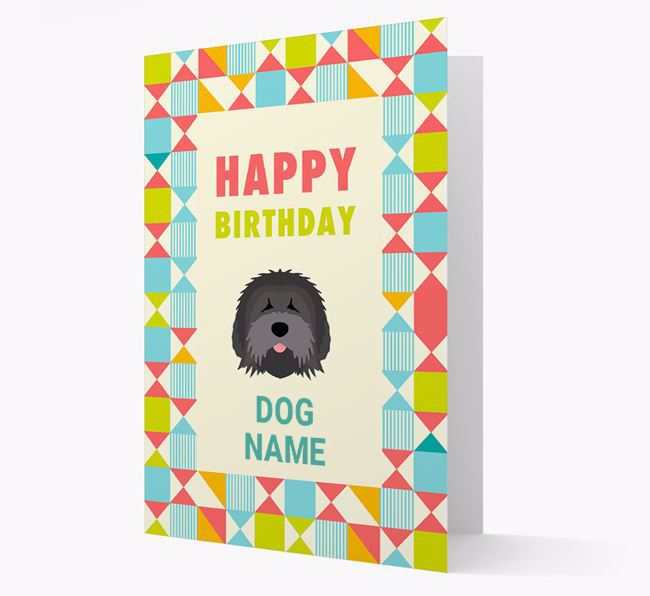 Personalized 'Happy Birthday' Pattern Border Card with Tibetan Terrier Icon