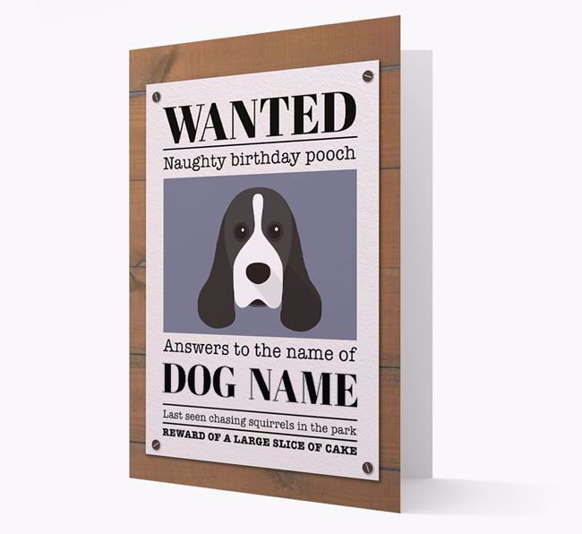 Personalised Card 'WANTED: Naughty Birthday Pooch' with Cocker Spaniel Icon