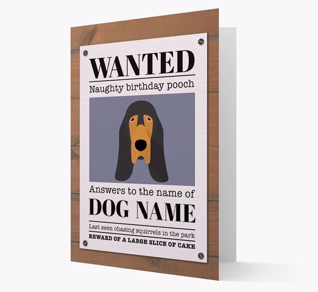 Personalized Card 'WANTED: Naughty Birthday Pooch' with Bloodhound Icon