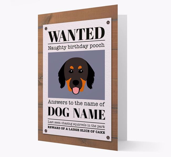 Personalized Card 'WANTED: Naughty Birthday Pooch' with Hovawart Icon