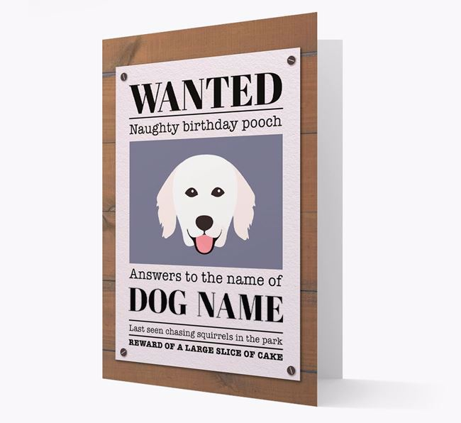 Personalized Card 'WANTED: Naughty Birthday Pooch' with Kuvasz Icon