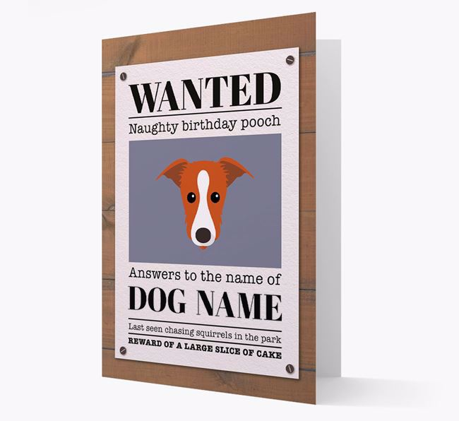 Personalized Card 'WANTED: Naughty Birthday Pooch' with Lurcher Icon