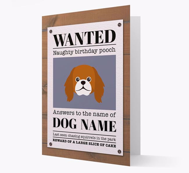 Personalized Card 'WANTED: Naughty Birthday Pooch' with Pekingese Icon
