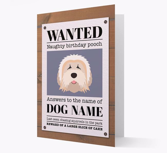 Personalized Card 'WANTED: Naughty Birthday Pooch' with Tibetan Terrier Icon