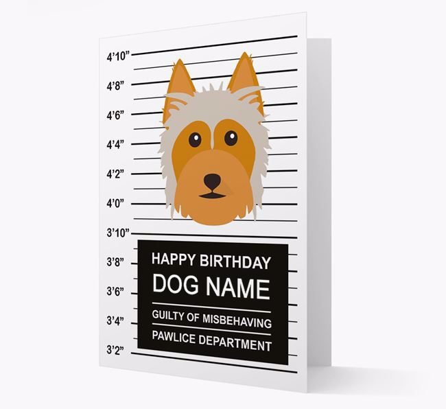 Personalized Card 'Guilty of Misbehaving' with Silky Terrier Icon