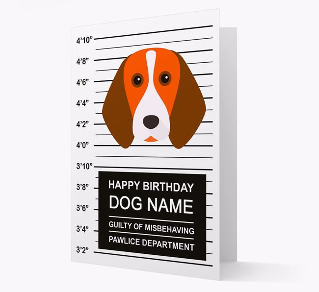 Personalised Card 'Guilty of Misbehaving' with Beagle Icon