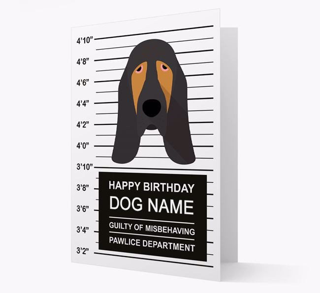 Personalized Card 'Guilty of Misbehaving' with Bloodhound Icon