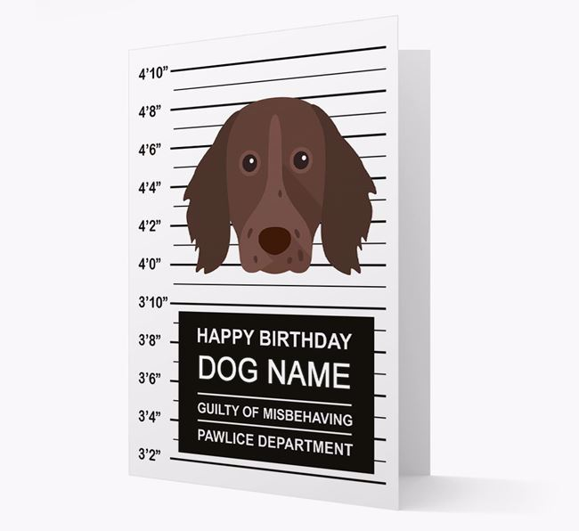 Personalized Card 'Guilty of Misbehaving' with Longhaired Pointer Icon