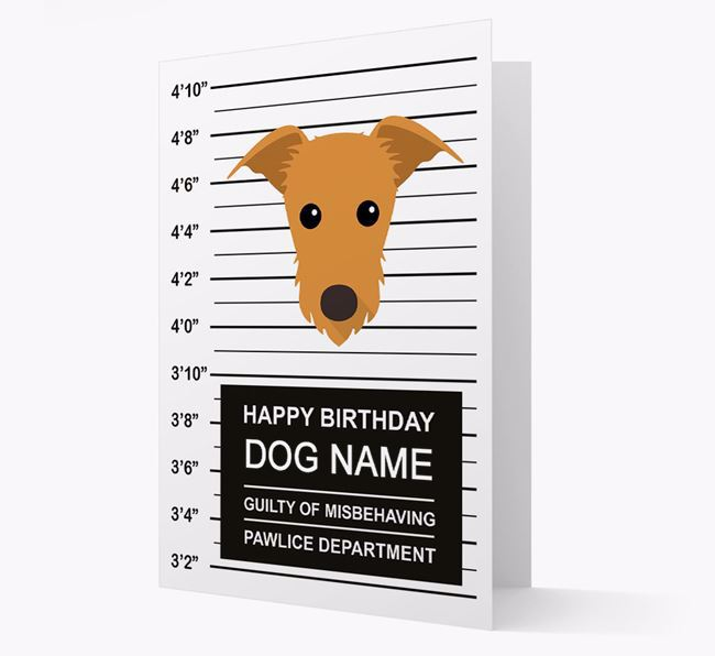 Personalized Card 'Guilty of Misbehaving' with Lurcher Icon