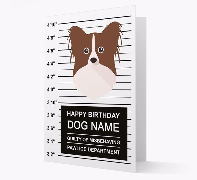 Personalized Card 'Guilty of Misbehaving' with Papillon Icon