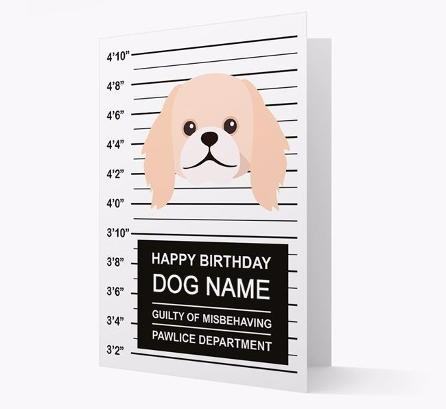 Personalized Card 'Guilty of Misbehaving' with Pekingese Icon