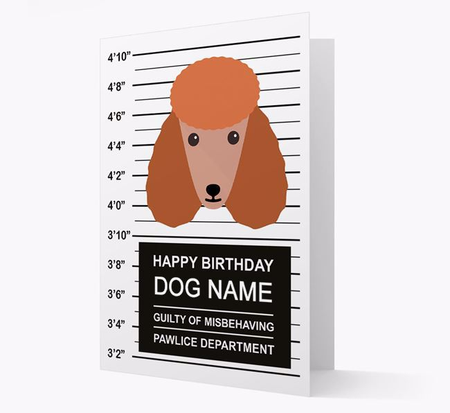 Personalised Card 'Guilty of Misbehaving' with Poodle Icon