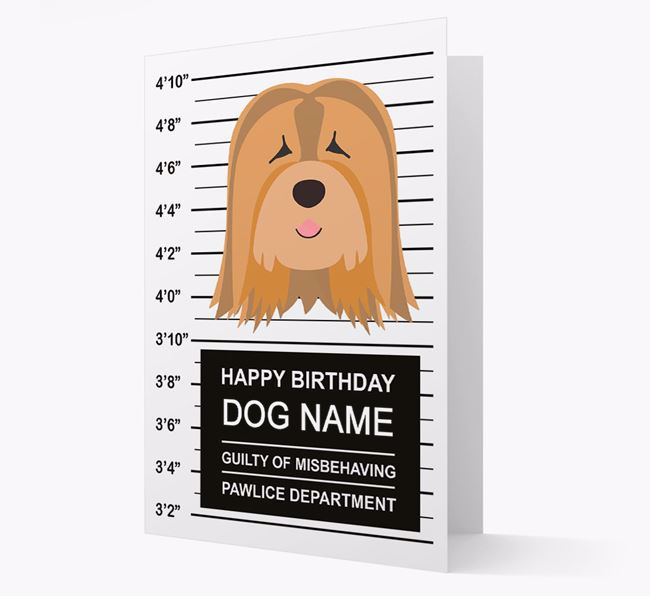 Personalized Card 'Guilty of Misbehaving' with Tibetan Terrier Icon