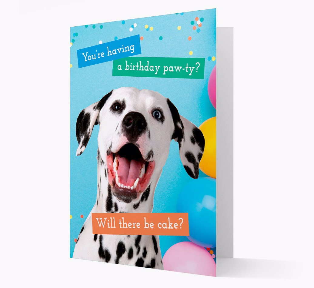 Birthday Card 'You're Having a Pawty' with Greenland Dog Icon on back