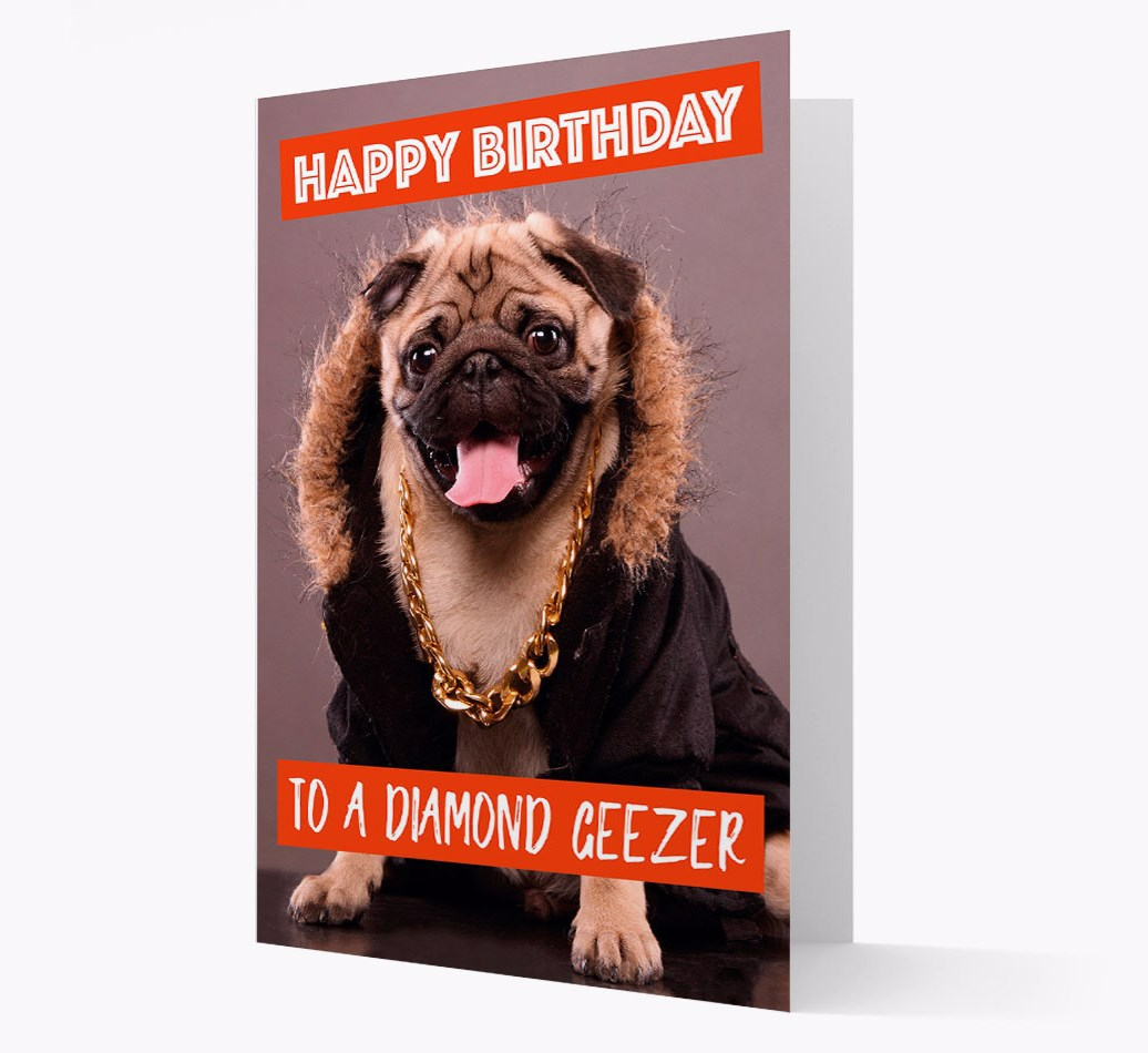 Birthday Card 'To A Diamon Geezer' with Flatcoat Icon on back