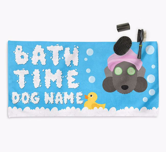 'Bubble Bath Time' Personalised Dog Towel for your Bedlington