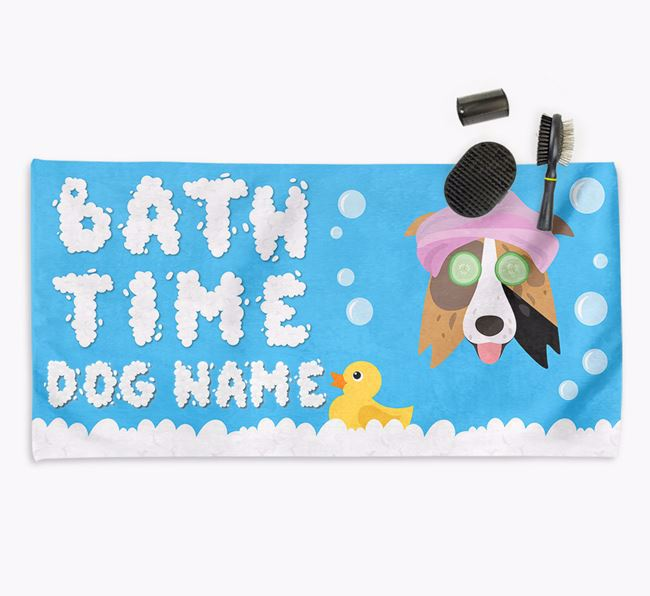 'Bubble Bath Time' Personalised Dog Towel for your Border Collie
