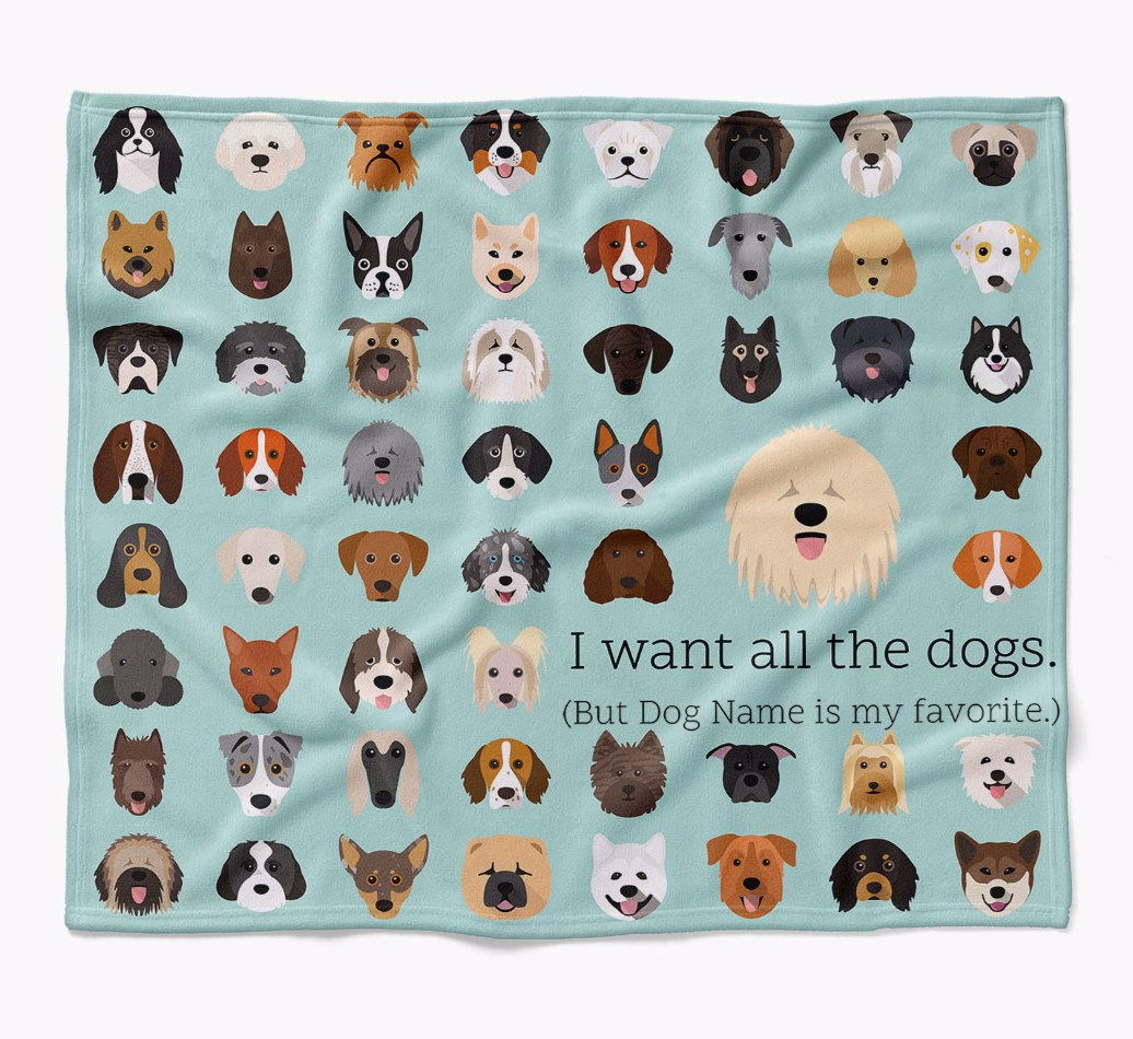 Personalized Komondor 'I want all the dogs' Luxury Dog Blanket in {colour} flat