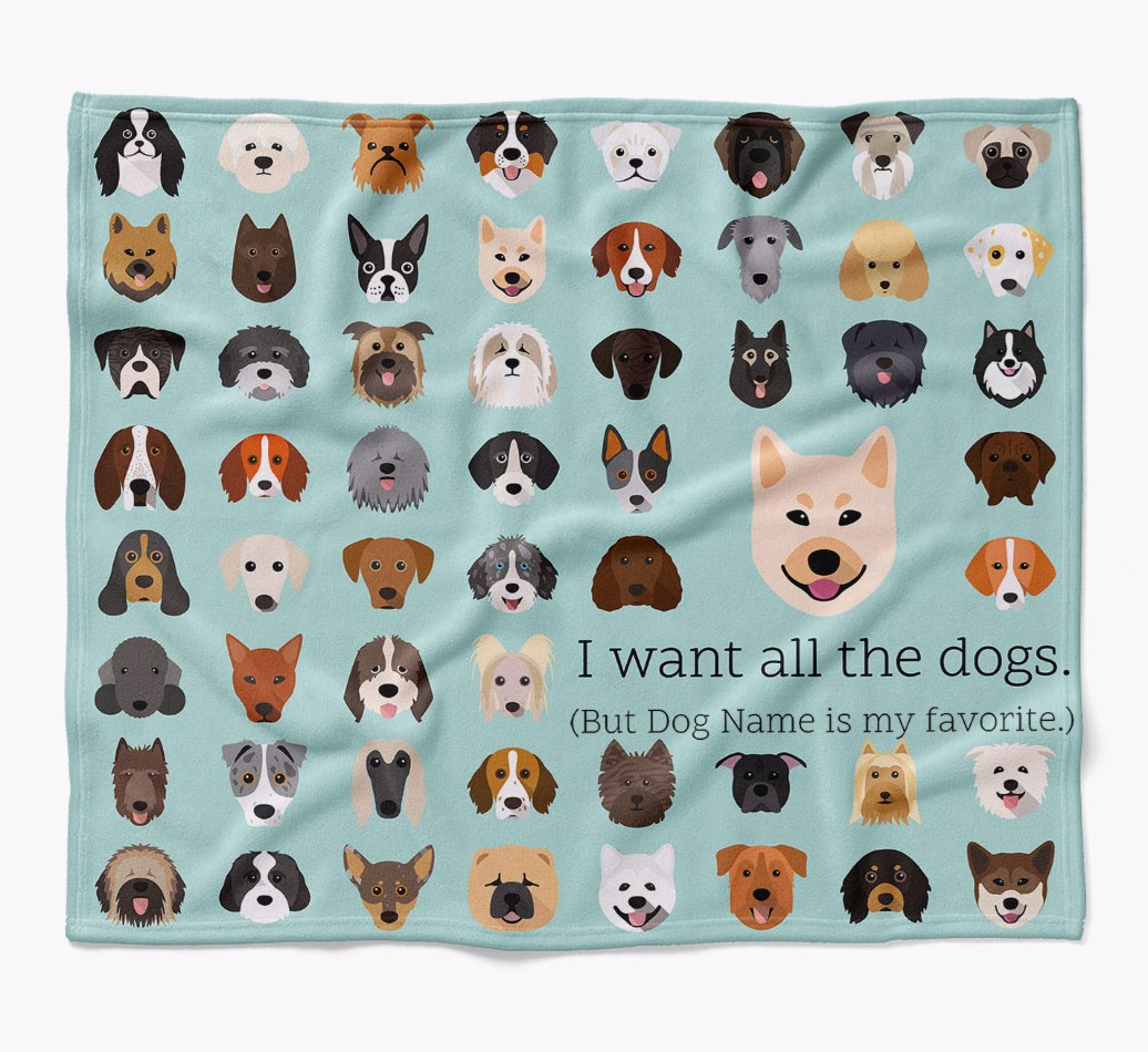 Personalized Norwegian Buhund 'I want all the dogs' Luxury Dog Blanket in {colour} flat