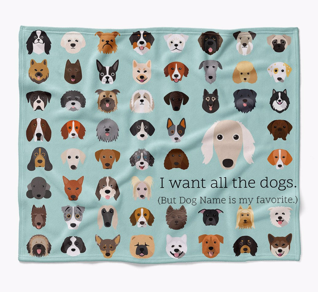 Personalized Saluki 'I want all the dogs' Luxury Blanket