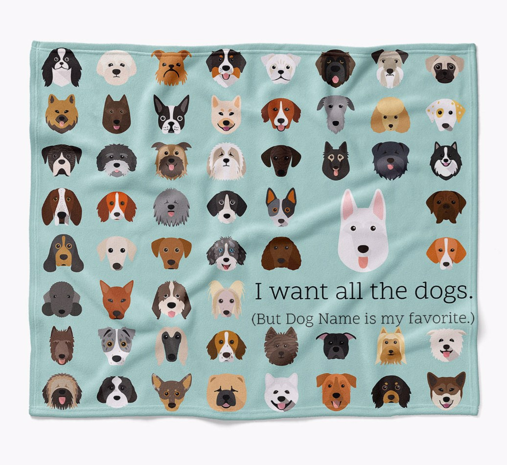 Personalized White Swiss Shepherd Dog 'I want all the dogs' Luxury Dog Blanket in {colour} flat