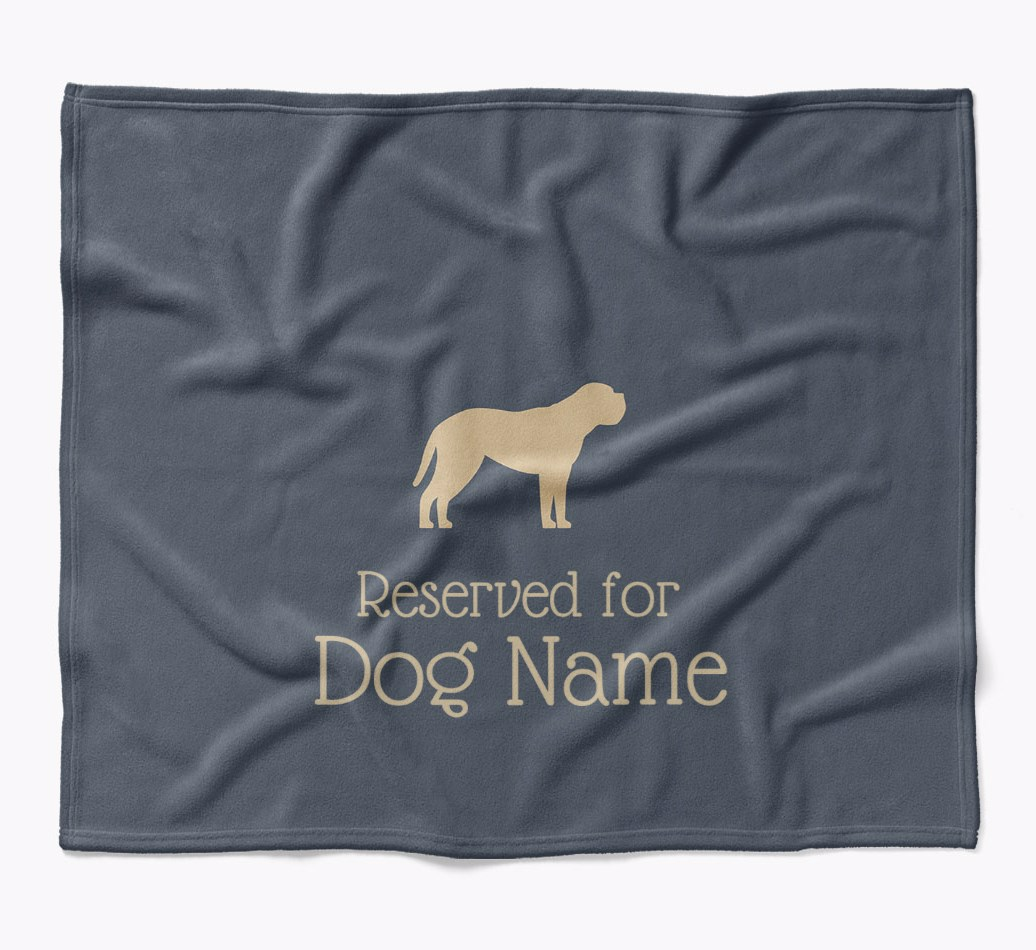{Personalized Mastiff 'Reserved for...' Luxury Dog Blanket in {colour} flat