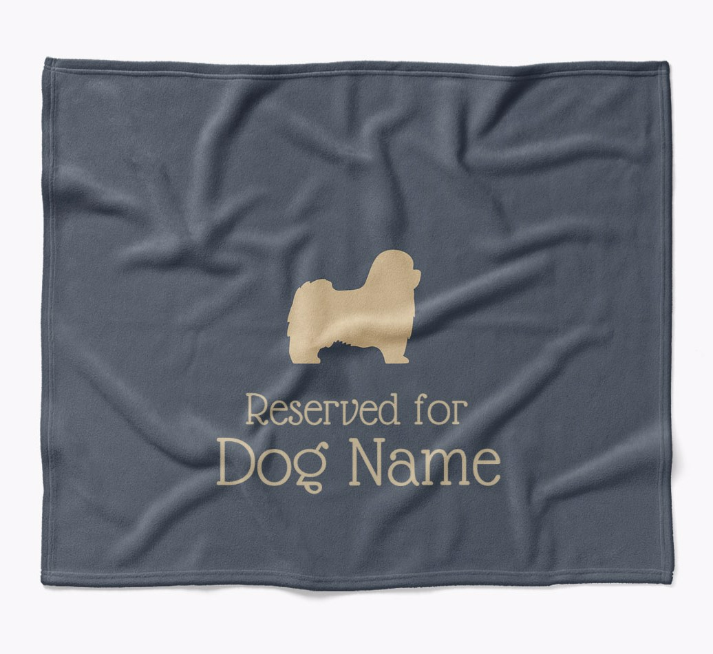 {Personalized Tibetan Terrier 'Reserved for...' Luxury Dog Blanket in {colour} flat
